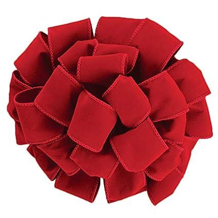 Christmas Ribbon.Wired Red Velvet Christmas Ribbon 2 1 2 40 50 Yards