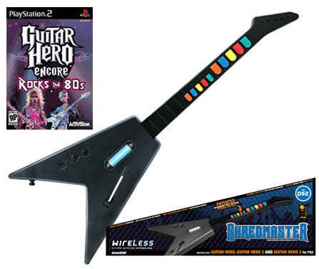 PS2 Guitar Hero Encore + PS2 Shredmaster Wired / Wireless Rechargeable Guitar (Carbon Fiber / Black)