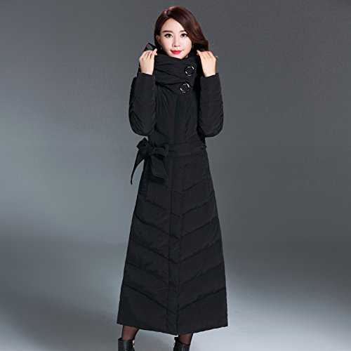 Solid Button Jacket XXXL Scarf Color Coat Sleeve Down Size Long Black Big Thicken DYF q4wx8tSnS