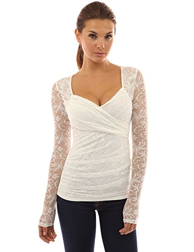 PattyBoutik Women's Sweetheart Floral Lace Long Sleeve Blouse (Ivory XL)