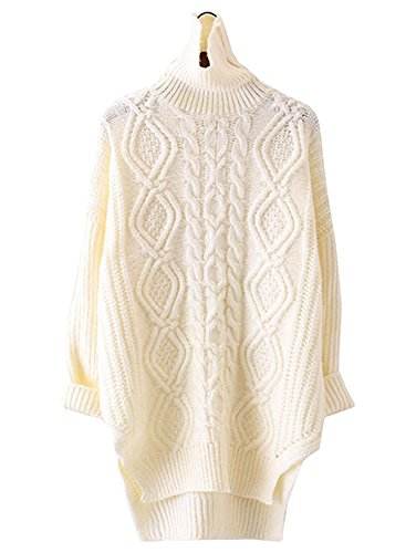 Futurino Women's Warm Cable Diamond Knit Turtleneck Long Pullover Sweaters Top