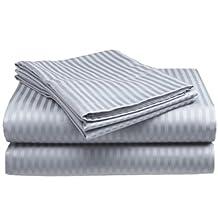Queen Size Silver Classic Sateen Dobby Stripe Sheet Set