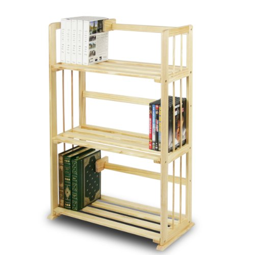 Furinno FNCL-33001 Pine Solid Wood 3-Tier Bookshelf - Lead Display 3 Tier