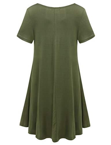 BELAROI Womens Comfy Swing Tunic Short Sleeve Solid T-shirt Dress (L, Army Green)