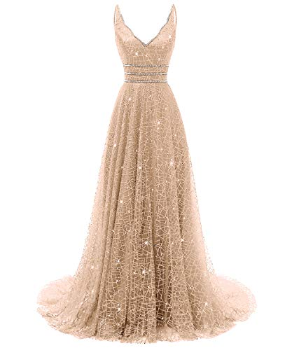 RJOAM-Prom Dresses Long Beaded Deep V-Neck&Back Sparkling Princess Tull Dresses 2019 Party Night Evening Gown Champagne Gold