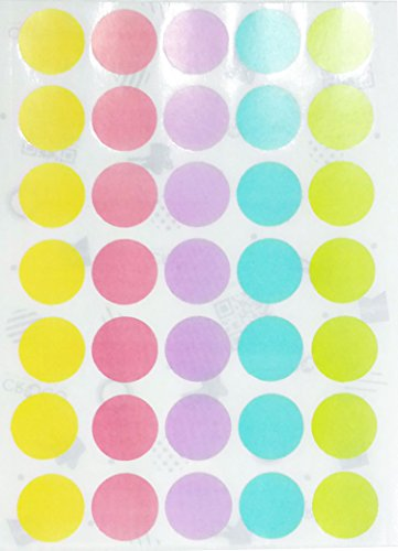 Pastel Soft Color Labels - Round Self Adhesive Labels 5 Assorted Pastel Colors , 10 Sheets pack / 350 Dots per Pack (3/4
