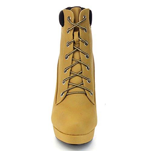 JJF Schuhe Polnische Militär Lace Up Plattform Chunky High Heel Ankle Booties Camel_Faux Nubuck_Polish-47