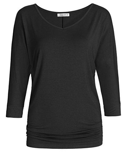 Esenchel Women's V-Neck Dolman Top 3/4 Sleeve Drape Shirt 3X Black ()