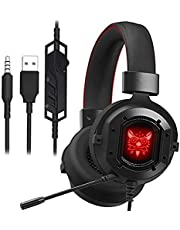 Gaming Headset for PS4 Xbox One, Haolide Wired Headphones with Mic, Stereo Bass Surround, Noise Reduction, LED Lights, Volume Control for Laptop, Mac, PC, Tablet