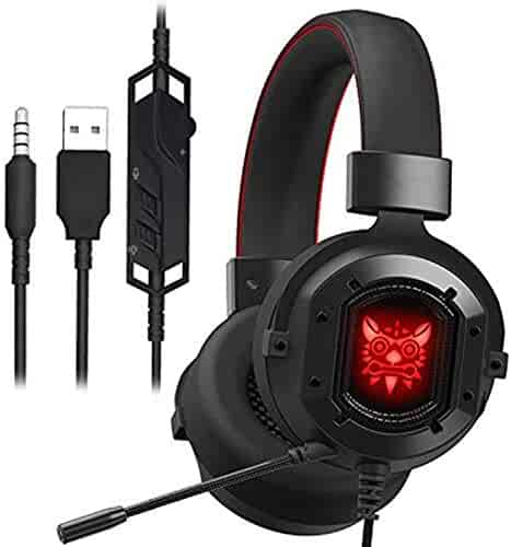 Gaming Headset for PS4 Xbox One,PC,KINGEAR Gaming Headphones with Noise Canceling Microphone,LED Light and Soft Earmuffs