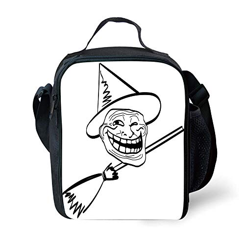 School Supplies Humor Decor,Halloween Spirit Themed Witch Guy Meme Lol Joy Spooky Avatar Artful Image,Black White for Girls or boys Washable]()