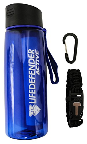Life Defender Best Water Filter Camping Bottle for Hiking/Survival/Camping - 2 stage with 1500L Capacity - Removes 99.999% of Waterborne Bacteria - Includes Paracord Bracelet with Flint by Life Defender