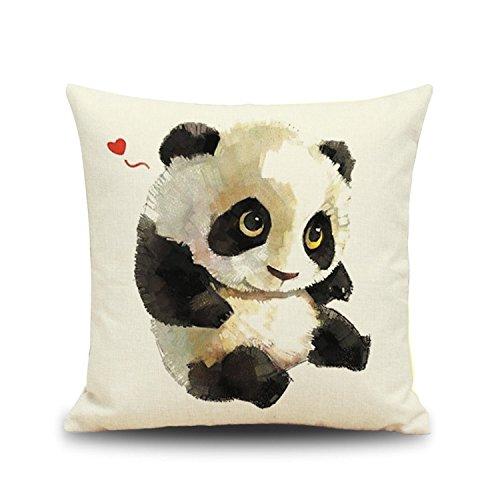 Cute Panda Theme Flax Throw Sofa Car Cushion Cover 18 X 18 Inch Digital Printed Panda Bear Pillowcase Novelty Home Decor (A) by Winterworm