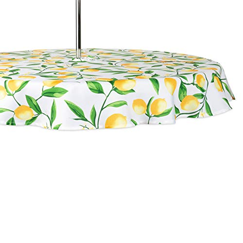 (DII CAMZ11291 Spring & Summer Outdoor Tablecloth, Spill Proof and Waterproof with Zipper and Umbrella Hole, Host Backyard Parties, BBQs, Family Gatherings - (Seats 2 to 4), 60
