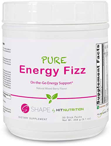 HIT Shape Pure Energy Fizz, Completely Naturally Flavored On-The-Go Energy Support Mix with Pure Energy, Mixed Berry, 30 Servings (Stick Packets)