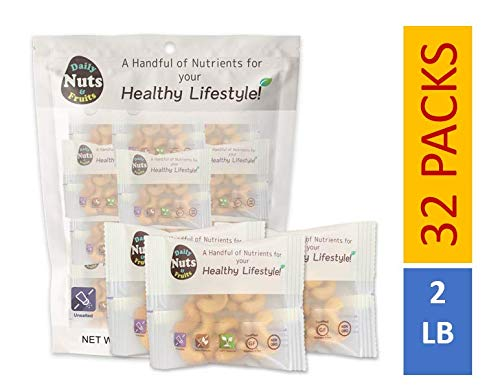Just Cashews 2 LB, WHOLE-KERNEL (Fresh Light-Roasted), 32 packs (1 oz), UN-SALTED, No Additives, On the go, Natural,On the Go,Multi Pack, Great for Keto Diet! (KOSHER CERTIFIED)