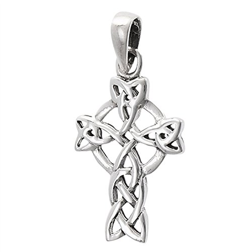 (Celtic Cross Pendant .925 Sterling Silver Circle Viking Twisted Medieval Charm)