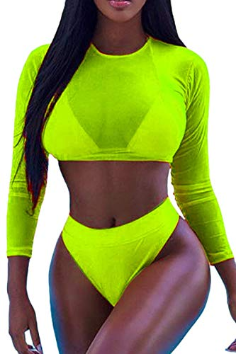 Meyeeka Women's Two Piece Long Sleeve Cover Up Bikini Sets High Waist Swimsuit M Lemon Green ()
