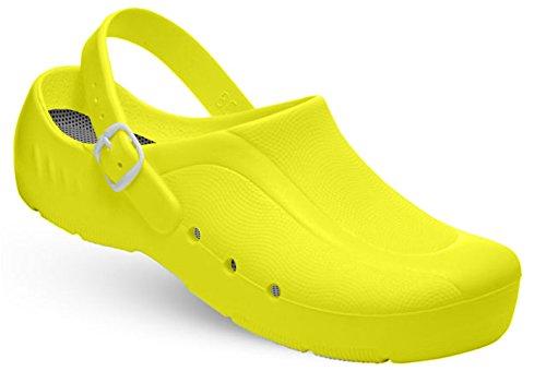 niveau mit unisexe Schürr Gelb du sans chaussures et Jaune oRTHOClogs Fersenriemen oP talon au avec BOxw84O