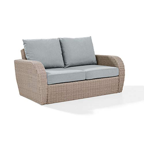 Crosley Furniture KO70142WH-MI St. Augustine Outdoor Wicker Loveseat, Weathered White with Mist Cushions