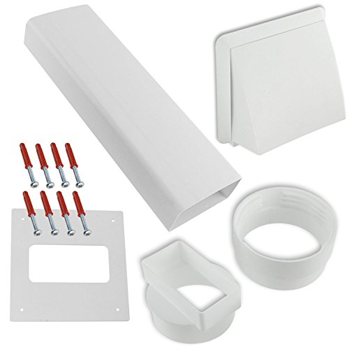 Spares2go PVC External Wall Vent Cowl Kit for Howdens Vented Tumble Dryers (White)