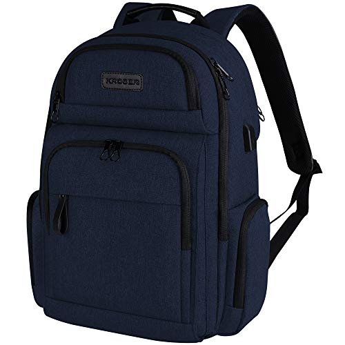 KROSER Laptop Backpack 15.6 Inch Stylish Computer Backpack with Hard Shelled Saferoom Water-Repellent Sturdy School Daypack with RFID Pockets for Work/Business/College/Men/Women-Dark Blue