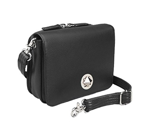 Concealed Carry Purse - Crossbody Organizer by Gun Tote'n Mamas (Black Lambskin)