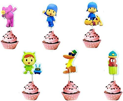 24PCS Pocoyo Cupcake Toppers Party Favors for Kids Birthday Baby Shower Birthday Decorations