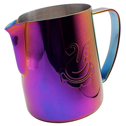 Dianoo Espresso Steaming Pitcher, Espresso Milk Frothing Pitcher Stainless steel, Coffee jug, Latte Art Cup 20 OZ (600ML) Multicolor