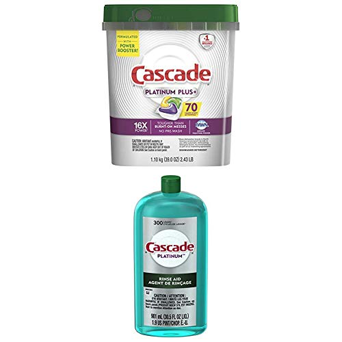 Cascade Platinum Plus Dishwasher Detergent Actionpacs, Lemon with Rinse Aid Platinum, Dishwasher Rinse Agent, Regular Scent