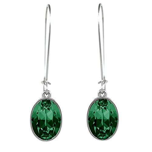 CP Oval Puzzle Emerald Rhodium Plated Earrings Made with Swarovski Crystals