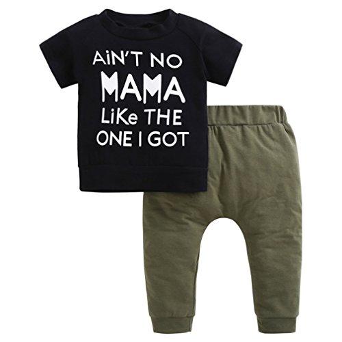 (YIJIUJIU Toddler Boys 2 Piece Mamas Outfits Short Sleeve Baby Clothes Letter T-Shirt+Army Green Pants Set 6-12 Months)