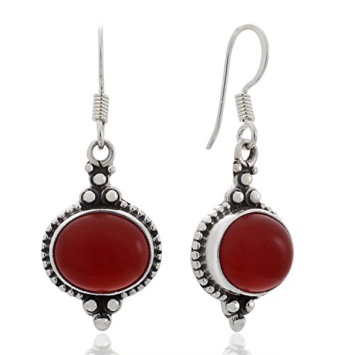 - 925 Sterling Silver Carnelian Gemstone Indian Inspired Vintage Oval Dangle Hook Earrings 1.5