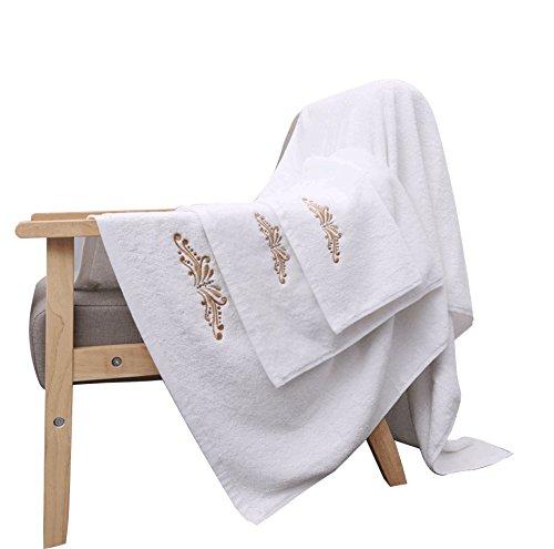 LANTEENSHOW 800Gram Five Star Quality Luxury 16s Spiral Long Stapled 100 Cotton Bath towels Set, 1 Bath towel 800GRAM,1 Face Towel 150GRAM,1 WASHCLOTH 60GRAM,White Color (Towels 800 Gram)