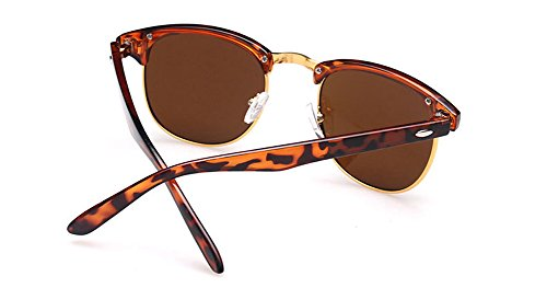 Outray Vintage Half Frame Horn Rimmed With Metal Rivets Sunglasses 2142a3 Leopard Print