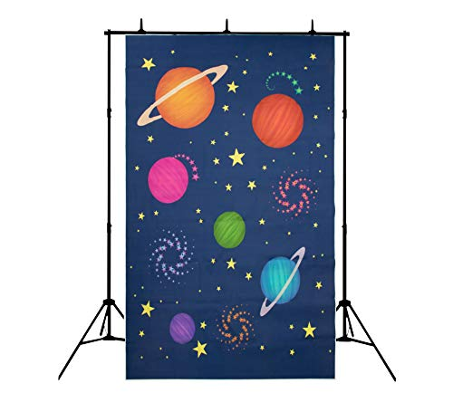 Outer Space Photo Booth Backdrop - 5 x 7 Feet Astronaut Theme Photography Studio Background, Galaxy, Stars, Universe Design, Party Decoration Prop, 60 x 85 Inches ()