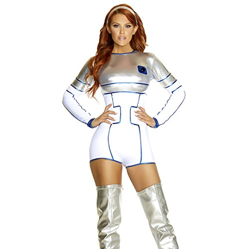 Forplay Women's Robotic Sexy Movie Character Costume, Silver, M/L - 80's Movie Characters Costumes