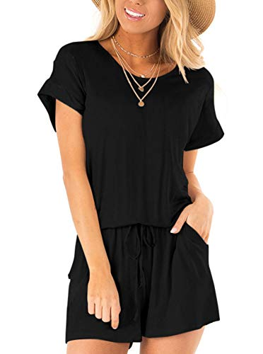 (REORIA Womens Casual Summer One Piece Short Sleeve Playsuits Short Jumpsuit Beach Rompers Black Large)