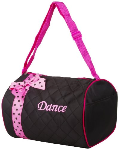 Silver Lilly Girls Dance Bag – Quilted Duffle Bag w/Bow – DiZiSports Store