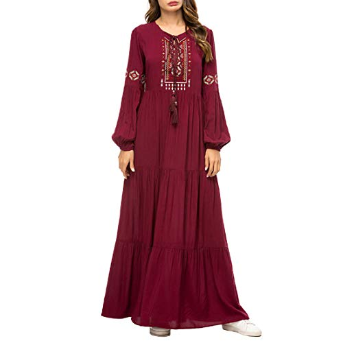 - Aiweijia Women's Simple Embroidered Dress Muslim Robe Loose Long Skirts