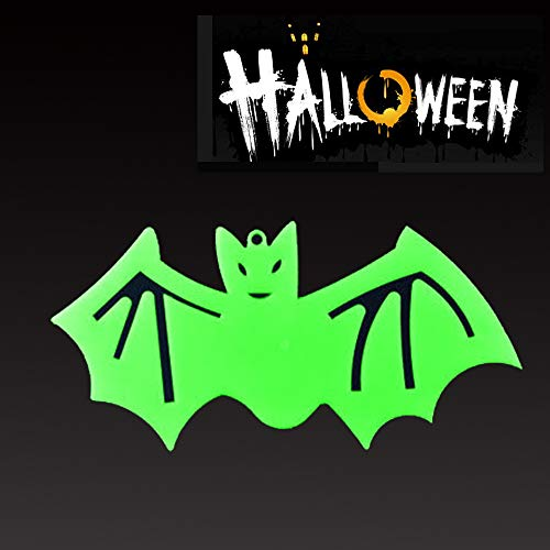Halloween Decorations Luminous Fluorescent Hanging Pumpkin Witch Ghost Skeleton Tombstone Outdoor/Indoor Crafts Party Supplies, 1 Pack 12.6 × 6.7 inch (Bat) -