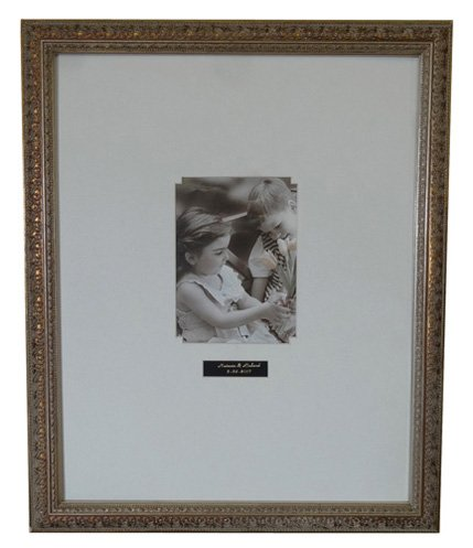 """Guest Signature Antique Silver Fram #A2 / Black OR White Mat / Vertical OR Horizontal / 16""""x20"""" (White Mat, Your Photo:5""""x 7""""(Frame:16""""x 20"""") VERTICAL)"""
