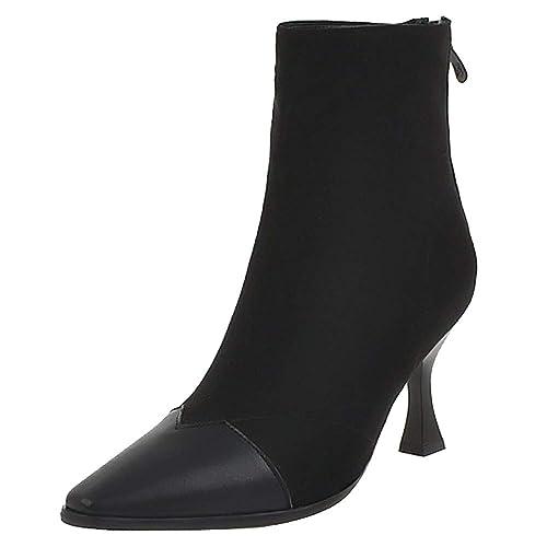 COOLCEPT Botas Mujer Elegante Fiesta Botines Tacón Alto Puntiagudo Vestido Botas Cremallera Formal Oficina Black Size