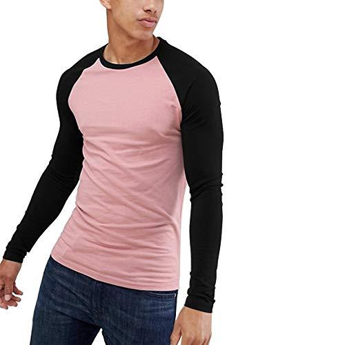 Sleeveless Muscle Raglan - Men's Muscle Fit Long Sleeve Contrast Raglan Baseball T Shirt Pink Black S