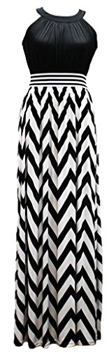 Wantdo Women's Wave Striped Boho Maxi Dress Plus Size(Black,US 14) (Plus Size Teen)