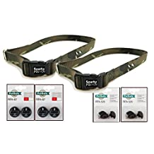 """Sparky PetCo Petsafe Compatible Replacement ( 2) 1"""" Heavy Duty Dog Straps with 2 RFA 529 Kits & 4 RFA 67-D-11 Batteries For 2 Dogs, Camo Green"""