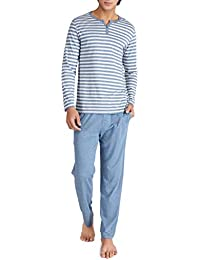 Men's Cotton Heather Striped Sleepwear Long Sleeve Top & Bottom Pajama Set