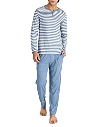David Archy Men's Cotton Striped Sleepwear Long Sleeve Top and Bottom Pajama Set