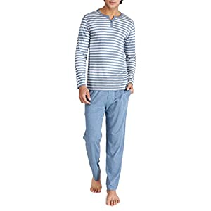 David Archy Men's Cotton Heather Striped Sleepwear Long Sleeve Top & Bottom Pajama Set