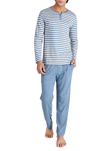 (David Archy Men's Cotton Heather Striped Sleepwear Long Sleeve Top & Bottom Pajama Set (Heather Navy Blue, XL))